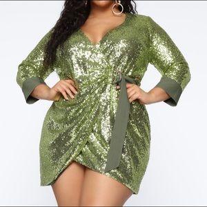 FashionNova: No Matter What Sequin Wrap Dress